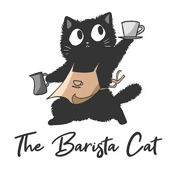 Illustration einer katze, die ein barista ist, lustige süße cartoon-katze