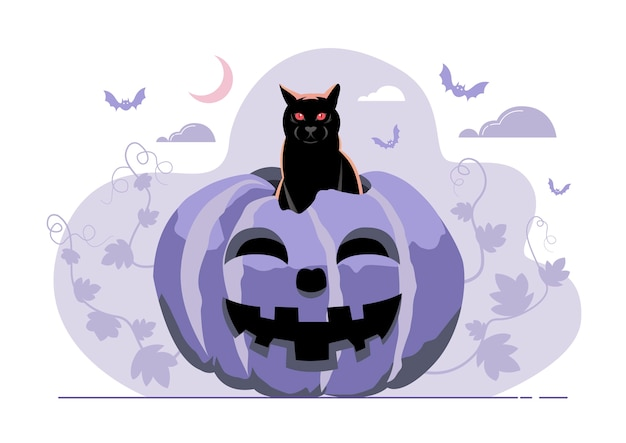 Illustration einer katze, die von einem kürbis am helloween-tag aufsteigt