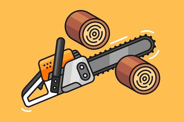 Illustration einer kettensäge, die ein holz hackt