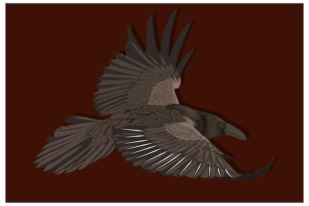 Illustration einer krähe, die hoch im freien himmel fliegt