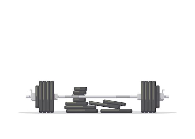 Illustration einer langhantel mit zusätzlichen gewichten lokalisiert auf weißem hintergrund. fitnessgeräte