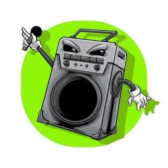 Illustration einer lautsprecherbox, die laut singen kann