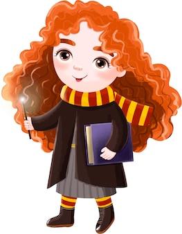 Illustration einer mädchenzauberin mit rotem lockigem haar und einem zauberstab
