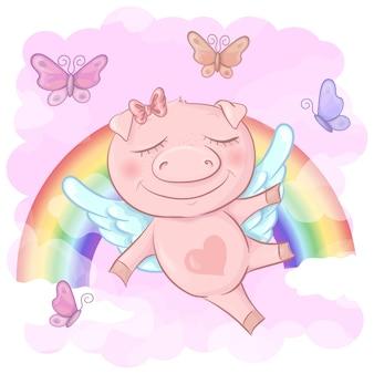 Illustration einer netten schweinkarikatur auf einem regenbogen