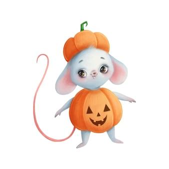 Illustration einer niedlichen cartoon-halloween-maus in einem kürbiskostüm halloween-tiere