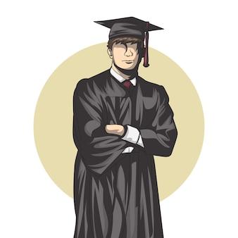 Illustration einer person, die abschlusskleidung trägt