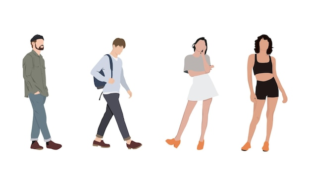 Illustration einer posierenden gruppe von menschen