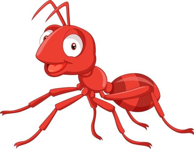 Illustration einer roten ameise der karikatur