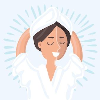 Illustration einer schönen frau, die im spa-salon entspannt
