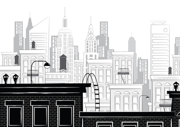 Illustration einer skizze von new york