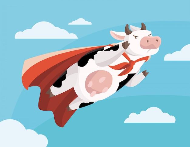 Illustration einer super fliegenden kuh