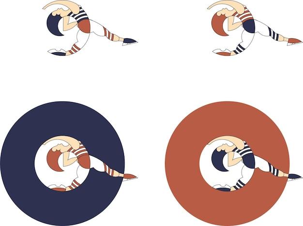 Illustration einer tanzenden person im kreis