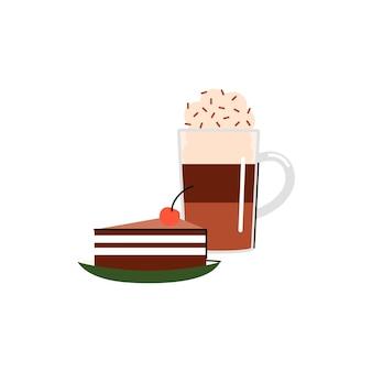 Illustration einer tasse mit einem kaffeegetränk und einem stück kuchen auf einer untertasse