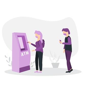 Illustration einer warteschlange von personen zum geldautomaten