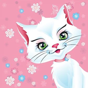 Illustration einer weißen katze auf einem rosa hintergrund