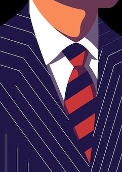 Illustration eines anzugs eines geschäftsmannes mit linienmotiv