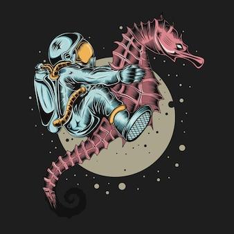 Illustration eines astronauten, der ein seepferdchen im weltraum reitet