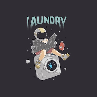 Illustration eines astronauten, der wäsche macht und zeitungen im weltraumdesign liest