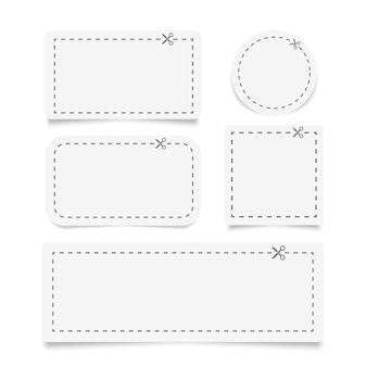 Illustration eines ausgeschnittenen coupons mit gestrichelter linie und schere unterschiedlicher formrohlinge weiße coupongrenzen werbecoupon aus einem blatt papier geschnitten