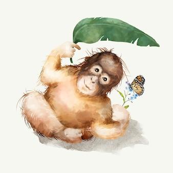 Illustration eines babyschimpansen