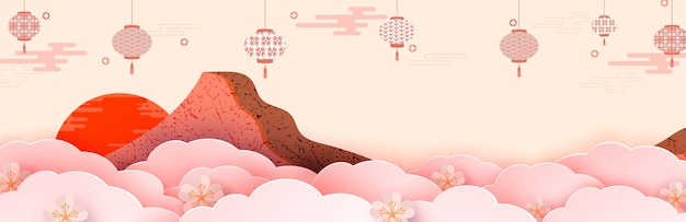 Illustration eines berges unter blumen, laternen und wolken. im vordergrund stehen frühlingsblumen.