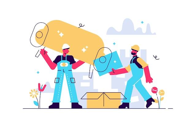 Illustration eines dienstes zum bewegen und transportieren von dingen