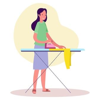 Illustration eines dienstmädchens, das kleidung am morgen bügelt