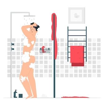 Illustration eines duschkonzepts nehmen