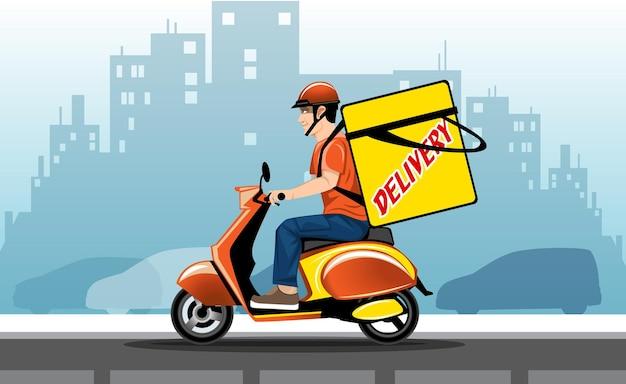 Illustration eines eiligen lieferboten auf einem roller mit einer großen tasche hinter dem rücken vor dem hintergrund der stadt.