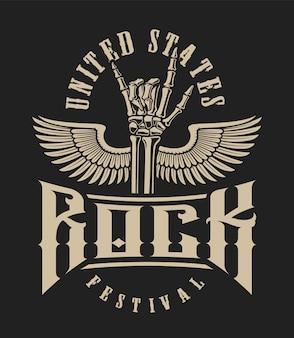 Illustration eines felsenhandzeichens mit flügeln auf einem dunklen hintergrund. perfekt für design-t-shirts und viele andere
