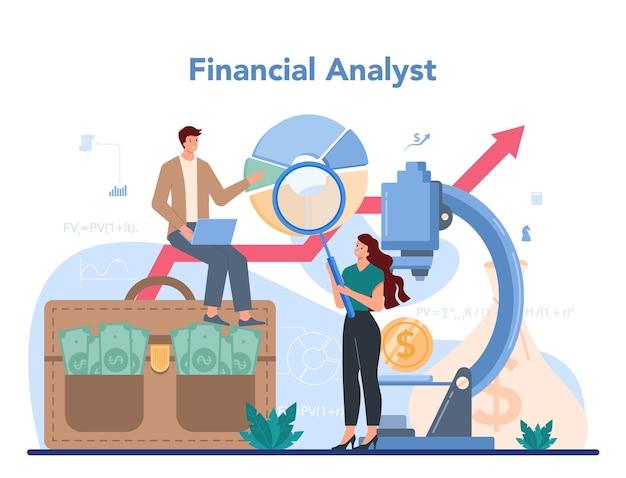 Illustration eines finanzanalysten oder beraters