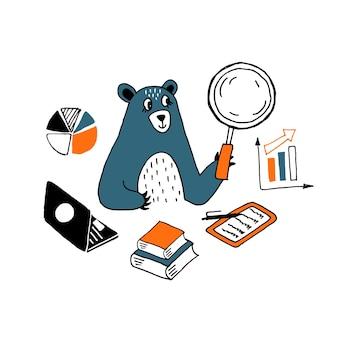 Illustration eines forschungsgeschäftsmanns, der geldfinanzierungsforschungsbären analysiert, die hand gezeichnete zahlen