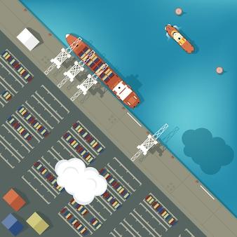 Illustration eines frachthafens im flachen stil. draufsicht.