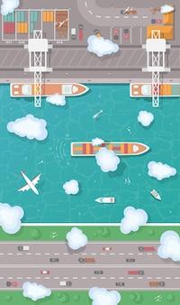 Illustration eines frachthafens in der flachen art draufsicht