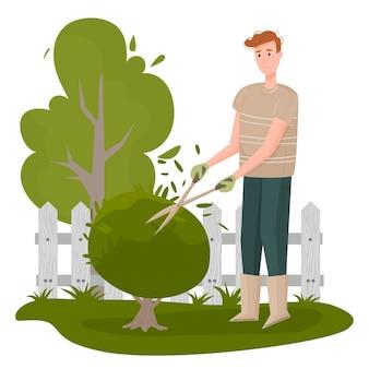 Illustration eines gärtners. männlicher handwerkercharakter, der isolierte packung von bäumen und büschen schneidet. landschaftsgestaltung des persönlichen grundstücks, anbau von pflanzen und baumschule, gartenarbeit
