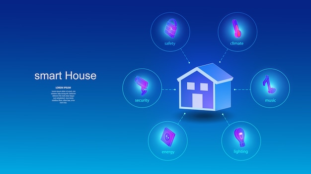 Illustration eines gebäudes mit elementen eines smart-home-systems.