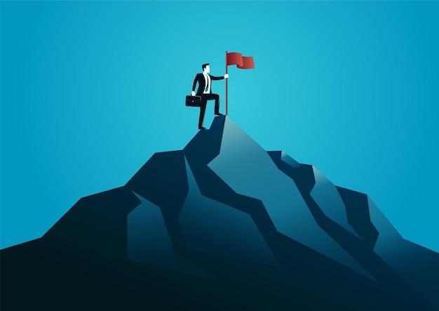 Illustration eines geschäftsmannes, der an der spitze des berges steht. geschäftsfolge beschreiben.