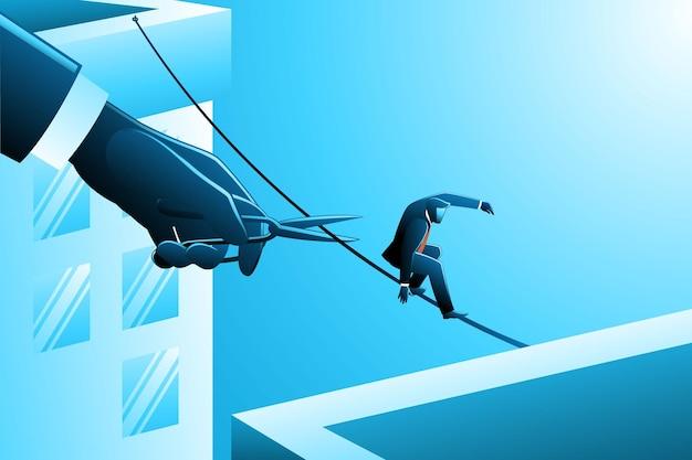 Illustration eines geschäftsmannes, der auf einem seil über gebäude geht, während eine riesige hand mit einer schere bereit ist, das seil zu schneiden