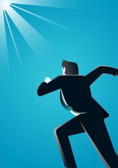 Illustration eines geschäftsmannes, der die reichweite beschreibt, die im geschäft erfolgreich ist
