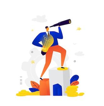 Illustration eines geschäftsmannes, der durch ein fernglas schaut.