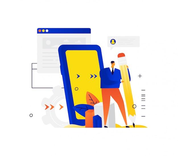 Illustration eines geschäftsmannes, der einen großen bleistift hält. ein mann im hintergrund der benutzeroberfläche und des telefons schreibt eine nachricht.
