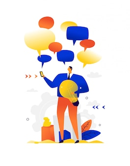 Illustration eines geschäftsmannes, der plaudert. . metapher. ein mann mit einer glühbirne, umgeben von komischen blasen. flache illustration. boten und chatten. nachrichten und sms um eine person.