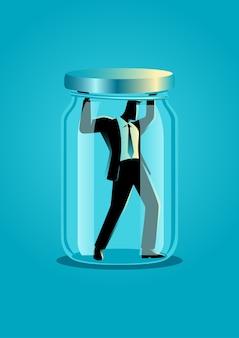 Illustration eines geschäftsmannes in einem glas gefangen