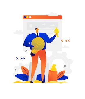 Illustration eines geschäftsmannes mit einer glühbirne und einer tasse. ein mann auf dem hintergrund des schnittstellenfensters. geschäft gewinnen und ziele durch kreativität erreichen.