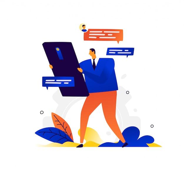 Illustration eines geschäftsmannes und eines telefons.