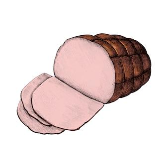 Illustration eines glasierten schinkens