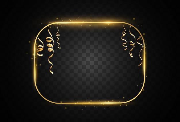 Illustration eines goldrahmens auf einem transparenten hintergrund.