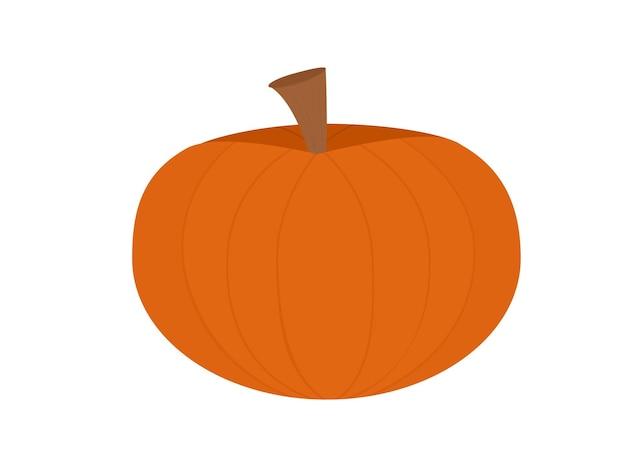 Illustration eines großen orangefarbenen kürbisses mit braunem schwanz