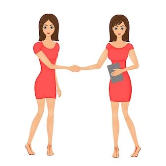 Illustration eines händedrucks von zwei netten karikaturmädchen