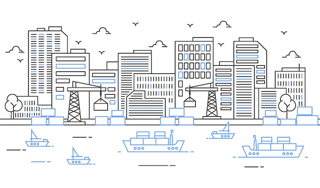 Illustration eines hafens mit großen schiffen und fracht im dünnen linienstil